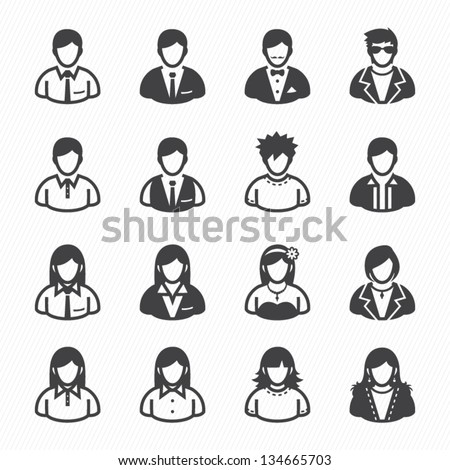 User Icons and People Icons with White Background - stock vector