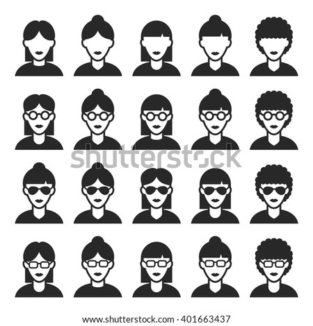 User icons set. Woman avatar icons. Vector illustration - stock vector