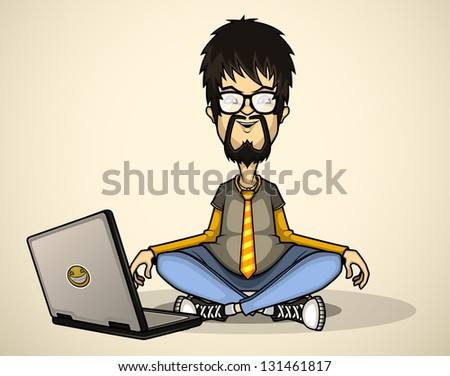 User in gray shirt and glasses with a laptop meditates - stock vector
