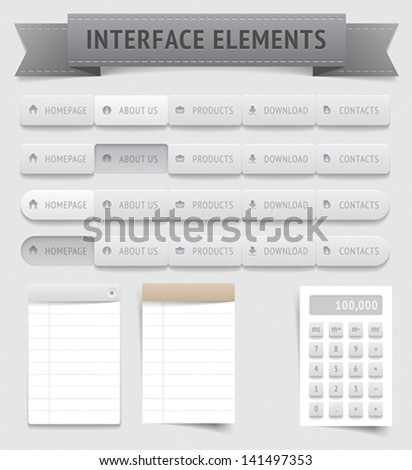 User interface elements. Vector saved as EPS-10, file contains objects with transparency (shadows etc.) - stock vector