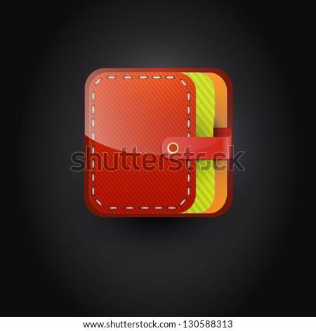 User interface wallet icon - stock vector