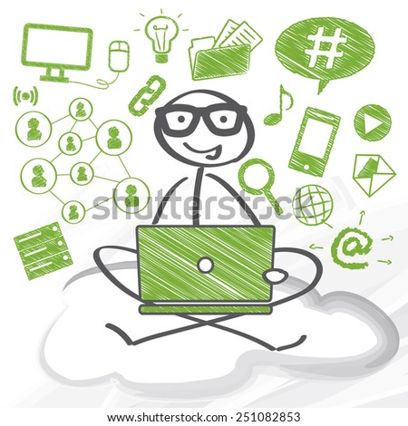 User on sitting with computer on a cloud - stock vector