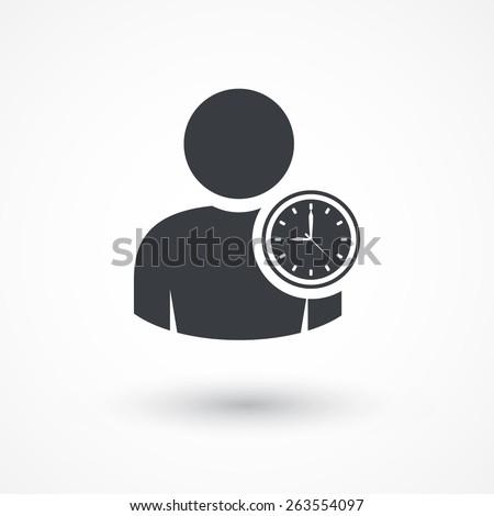 User. Person clock icon. - stock vector