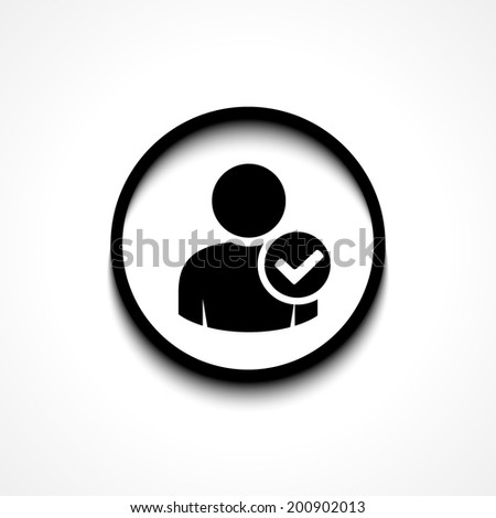 User profile sign web icon with check mark glyph. Vector illustration design element eps10 - stock vector