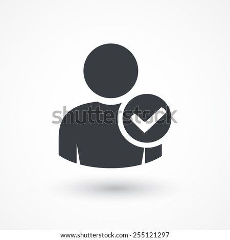 User profile sign web icon with check mark glyph. Vector illustration design element. Flat style design icon - stock vector