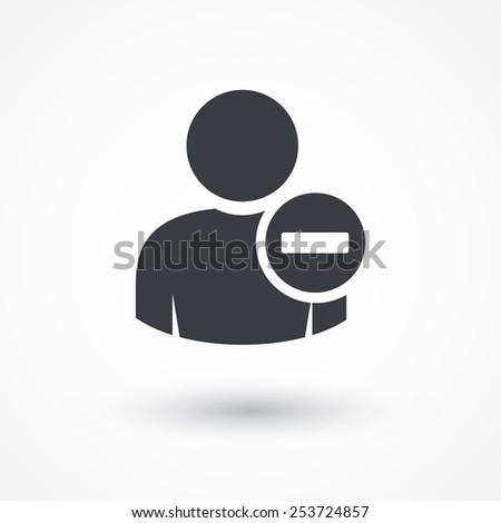 User profile sign web icon with minus sign. Vector illustration design element eps10 - stock vector