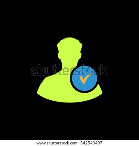 User profile web with check mark glyph. Color vector icon on black background - stock vector
