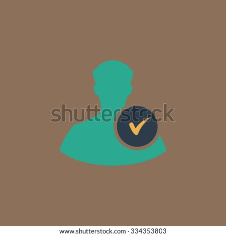 User profile web with check mark glyph. Colorful vector icon. Simple retro color modern illustration pictogram. Collection concept symbol for infographic project and logo - stock vector