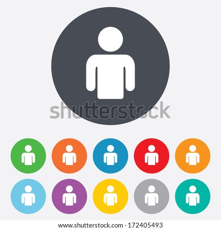 User sign icon. Person symbol. Human avatar. Round colourful 11 buttons. Vector - stock vector