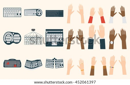 Users hands on keyboard and mouse of computer. Desk office worker keyboard hands concept. Computer, internet, typing. Flat style design keyboard hands vector illustration. Modern concept programmer. - stock vector