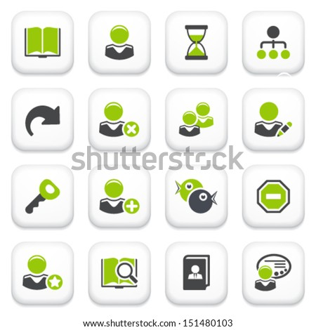 Users icons. Green gray series. - stock vector