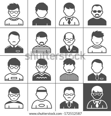 Users icons. Occupation and people. Vector illustration. Simplus series - stock vector