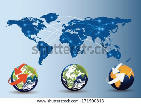 users share information - stock vector