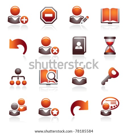 Users web icons. Black and red series. - stock vector
