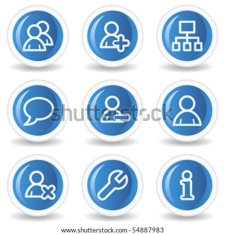 Users web icons, blue glossy circle buttons - stock vector