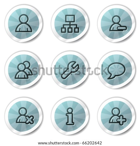 Users web icons, blue shine stickers series - stock vector
