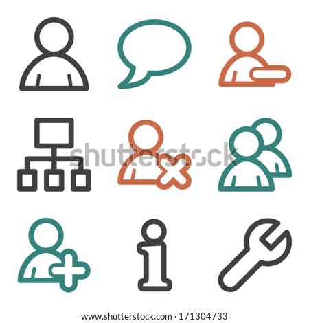 Users web icons, contour series - stock vector