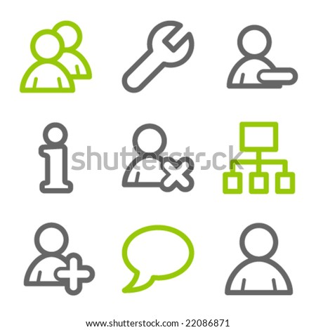 Users web icons, green and gray contour series - stock vector