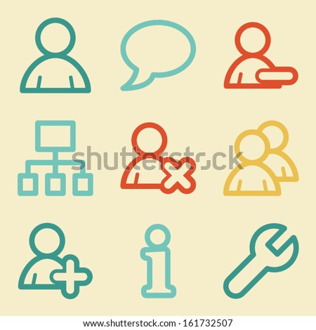 Users web icons, retro colors - stock vector
