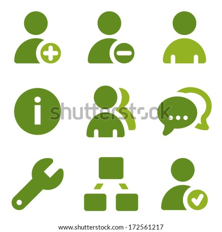 Users web icons set, green series - stock vector