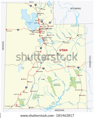 utah national park map - stock vector