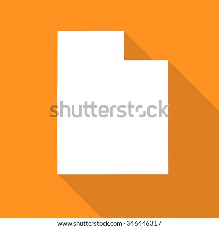 Utah white map,border flat simple style with long shadow on orange background - stock vector