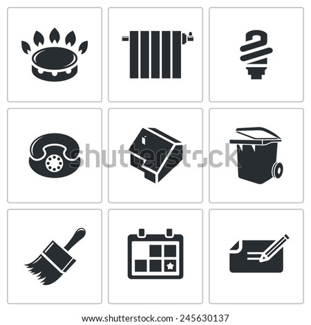 Utilities, domestic problems Vector Icons Set - stock vector