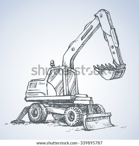 Utility pneumatic mini cutcat model with dipper and big rubber bus isolated on white background. Freehand drawn picture sketchy scribble pen on paper. Side view with space for text on quarry grub land - stock vector