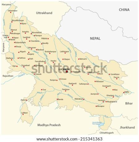 uttar pradesh map - stock vector