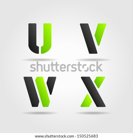 UVWX green - stock vector