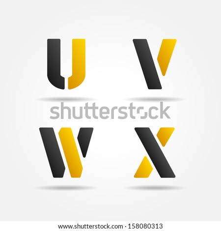 uvwx yellow stencil letters - stock vector