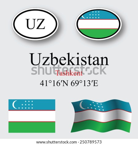 uzbekistan icons set against gray background, abstract vector art illustration, image contains transparency - stock vector