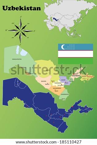 Uzbekistan vector set. Isolated - stock vector