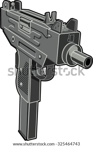 uzi submachine gun - stock vector