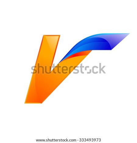 V letter blue and Orange logo design Fast speed design template elements for application. - stock vector