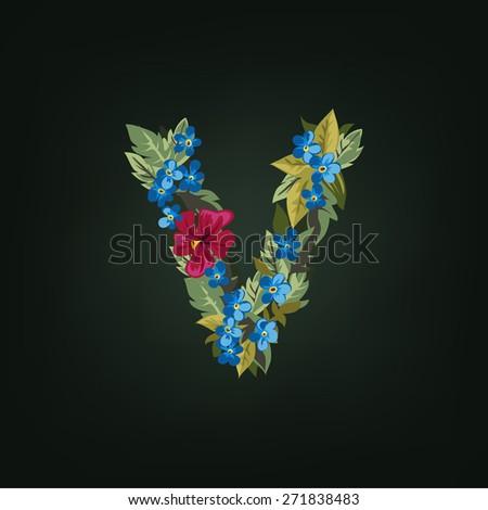 V letter. Flower  alphabet. Colorful font. Lowercase.  Vector illustration. - stock vector