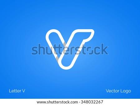 V Letter Linear Flat Minimal Alphabet typo logo icon - stock vector