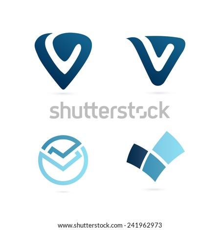 V letter logo set  - stock vector