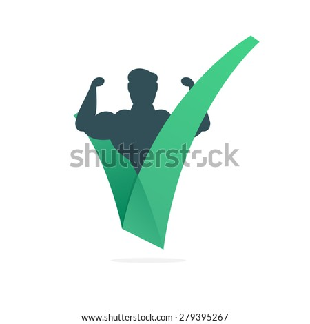 V letter or check mark, bodybuilding, design template elements - stock vector