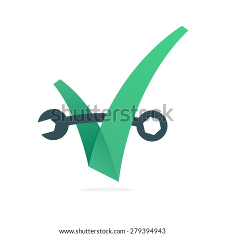 V letter or check mark, repair wrench, design template elements - stock vector