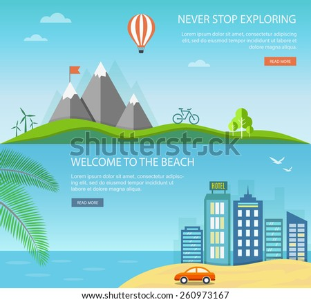 Vacation and travel banner set with mountains and urban landscapes. Eps10 - stock vector