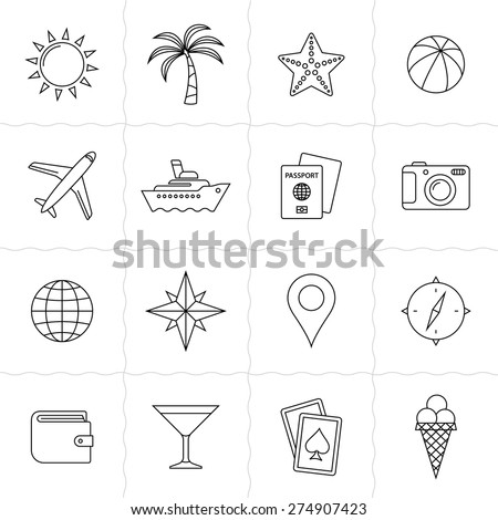 Vacation and travel icon set. Simple outlined icons. Linear style - stock vector