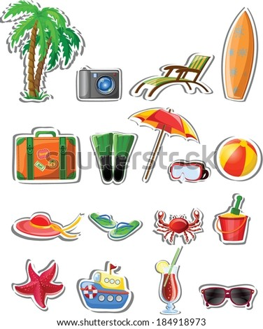Vacation and travel  icons, vector illustration for your design  - stock vector