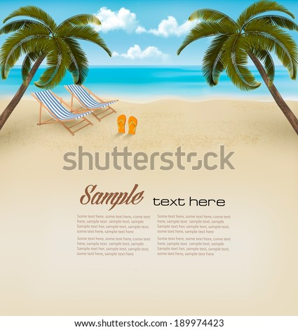 Vacation background. Beach with palm trees and flip flops. Vector. - stock vector