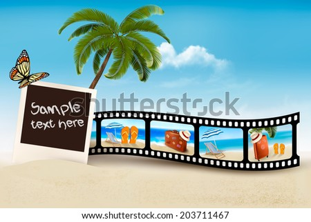 Vacation film tape on a beach. Vector.  - stock vector