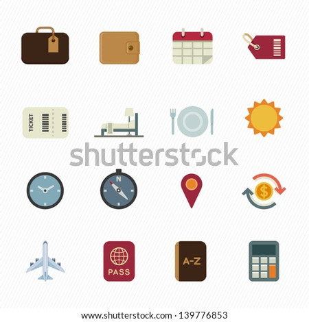 Vacation Icons and Travel Icons with White Background - stock vector