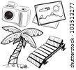 Vacation objects collection. Hand drawing sketch vector illustration - stock vector