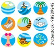vacation on beach icons vector set - stock vector