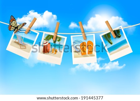 Vacation photos hanging on a rope. Vector.  - stock vector