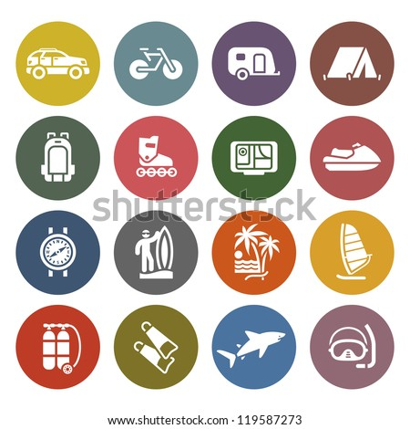 Vacation, Recreation & Travel, icons set - Retro color version - stock vector